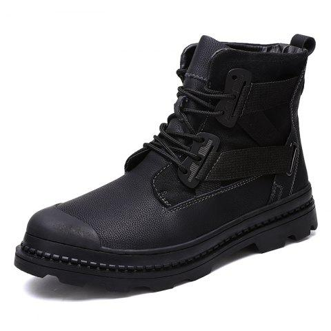 Men High-Top Belt with Non-Slip Wear-Resistant Casual Tooling Shoes - BLACK EU 40