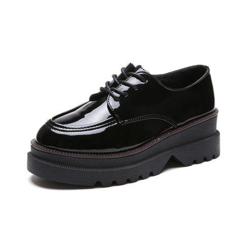 A Comfortable British Leather Shoe with Flat Bottom - BLACK EU 35