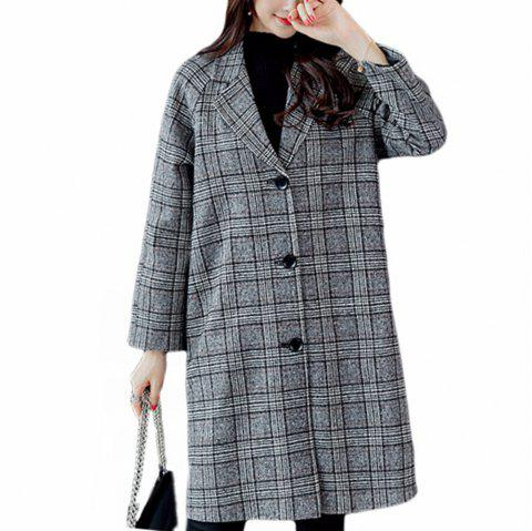 Ladies Woolen Coat Plaid Coat in The Long Style Lattice Overcoat - GRAY L
