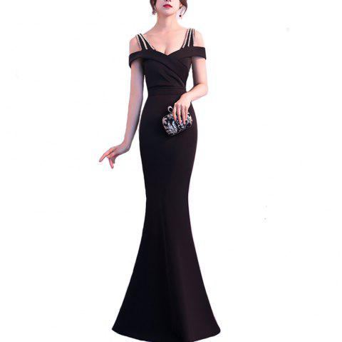Ladies Evening Party Cocktail Party Slim Fit Dress - BLACK ONE SIZE