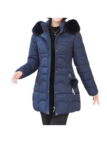 fe0bb06a462 Plus Size Winter Women Cotton Hooded Coat Large Fur Collar Loose Warm Parka