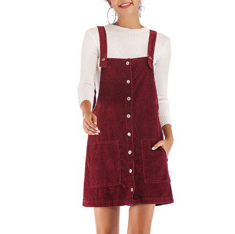 Women'S Fashion Corduroy Strap Dress - RED WINE L