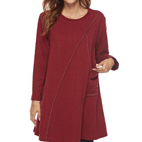 Jacquard Dress in Large Size - RED WINE L