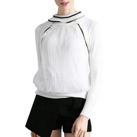 Pleated Pile Collar Knit Stretch Sweater - WHITE S