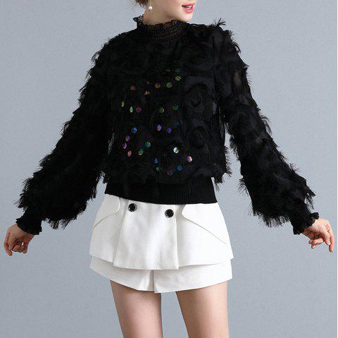 Fringed Fashion Sequined Knit Sweater - BLACK XL