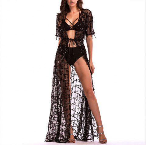 Elegant Short Sleeve Perspective Sequined Lace Sexy Nightclub Maxi Dress - BLACK M