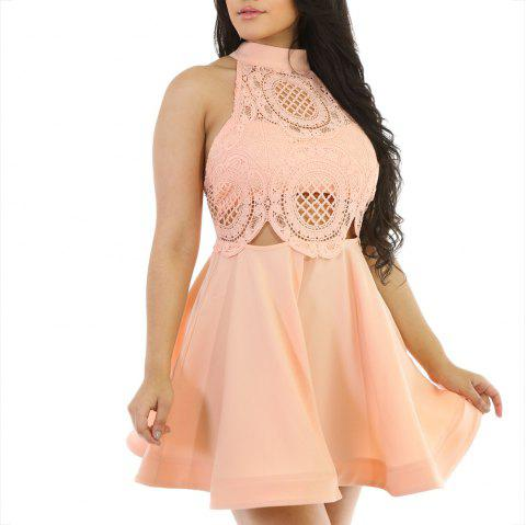 Elegant Sleeveless Stitching Hanging Neck Sexy Lace Nightclub Halter Skirt - APRICOT XL