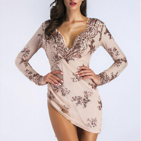 Elegant Sequined Lace Sexy Nightclub Mini Dress - APRICOT L
