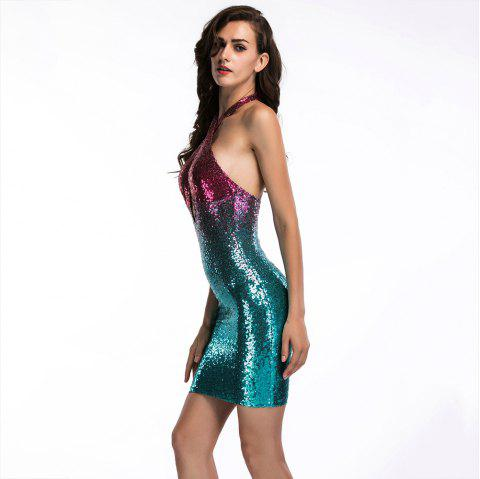 28b3f6ea832 Elegant and Stylish Deep V-Neck Hanging Neck Nightclub Sequins Gradient  Backless - DARK TURQUOISE