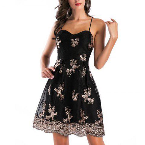 Fashion Gold Thread Embroidery Sexy Backless Cross Deep V-Neck Mopping Dress - BLACK M