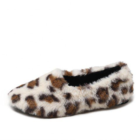 Flat Bottomed Wool Warm Leopard Shoes - WHITE EU 36