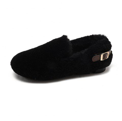 Wild Hair Warm Flannel Flat Shoes - BLACK EU 38