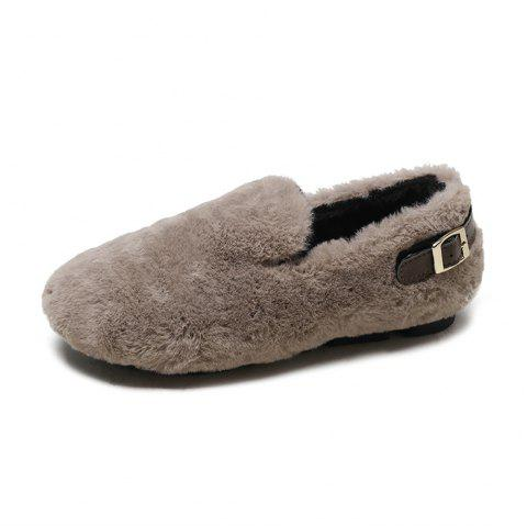 Wild Hair Warm Flannel Flat Shoes - KHAKI EU 37