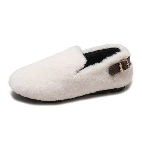 Wild Hair Warm Flannel Flat Shoes - BEIGE EU 37