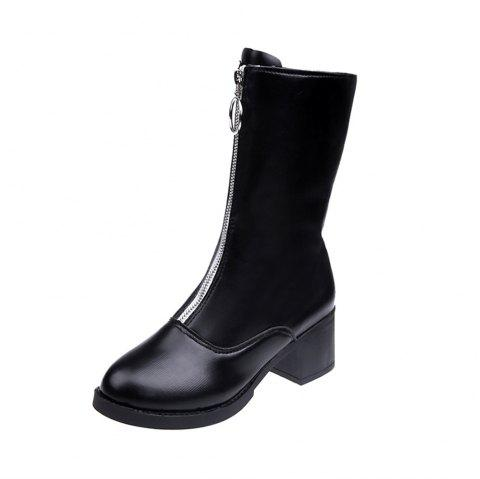 Medium Round Front Zipper Middle Tube Boots - BLACK EU 37