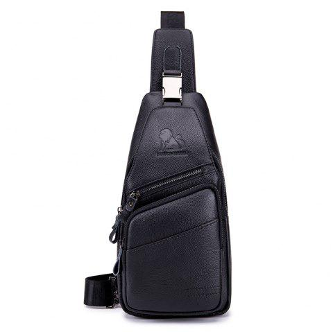 Men's new casual business front and rear crossbody chest bag - BLACK