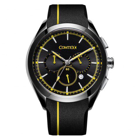 Comtex Men Fashion Sport Waterproof with Silicone Band Wristwatch - CORN YELLOW
