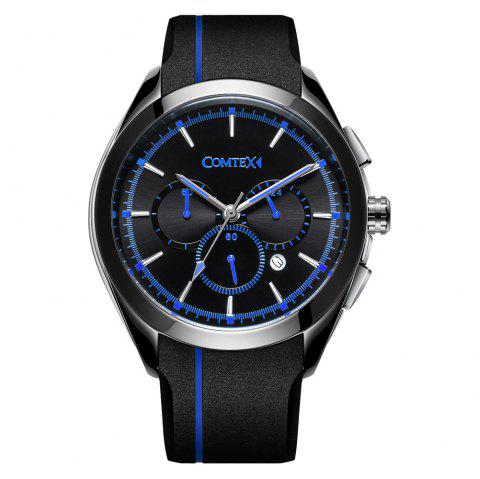 Comtex Men Fashion Sport Waterproof with Silicone Band Wristwatch - DODGER BLUE