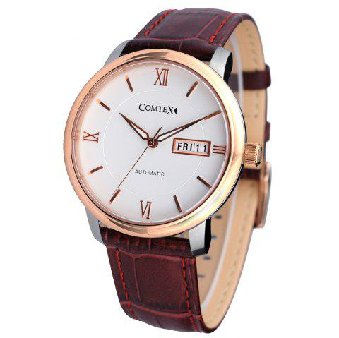 Comtex S6361G-3 Men'S Automatic Watch Leather Strap Business Wrist Watch - CHESTNUT