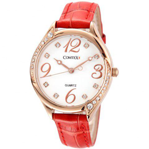 Comtex SYM140128 Ladies Simple Fashion White Leather Band Quartz Watch - LAVA RED
