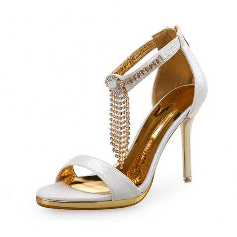 Open Toe Rhinestone Stiletto Sandals Water Resis Platform Sexy High Heel Sandals - WHITE EU 40