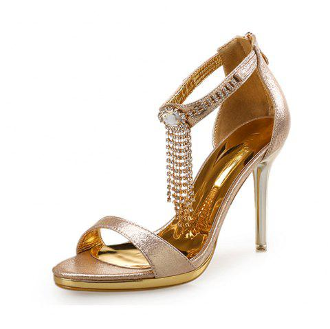 Open Toe Rhinestone Stiletto Sandals Water Resis Platform Sexy High Heel Sandals - APRICOT EU 36