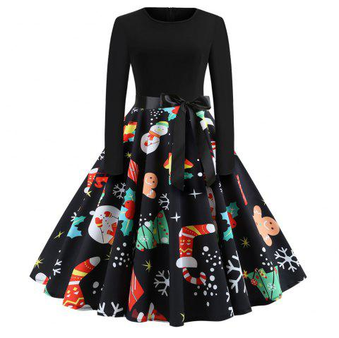 Christmas Print Stitching Long Sleeves and Large Dresses - multicolor C XL