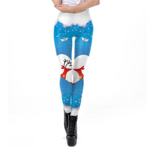 Christmas Costumes Santa Clothes Women Printing Sport Leggings - DAY SKY BLUE L