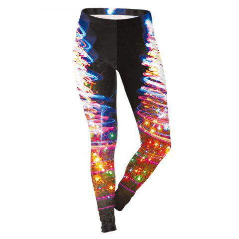 Christmas Colorful Pattern Print Costume Clothes Women Sport Leggings - BLACK M
