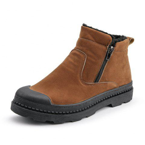 Men'S Fashion Casual Comfortable Cotton Boots - BROWN EU 43