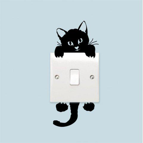 Cute Kitten Switch Sticker PVC Removable Wall Stickers - multicolor A 6 X 6 INCH