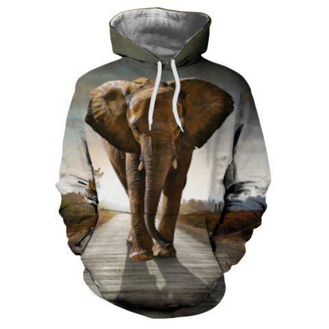 Men's New Sunset  3D Printing Hooded Sweater - multicolor B L