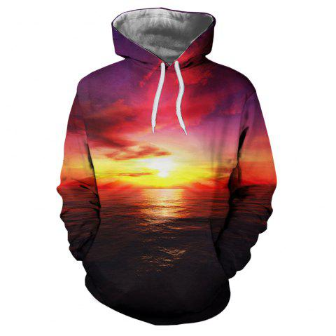 Men's New Sunset  3D Printing Hooded Sweater - multicolor J M
