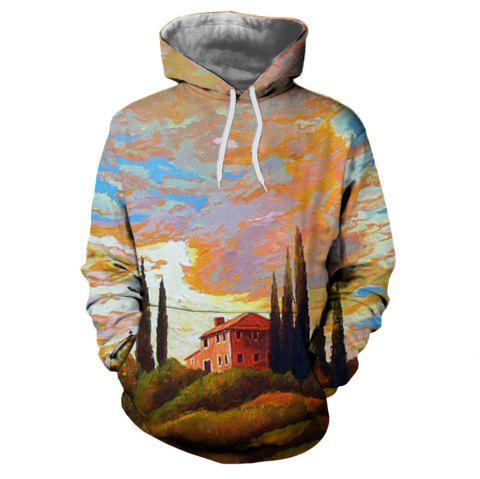 Men's New Sunset  3D Printing Hooded Sweater - multicolor I L