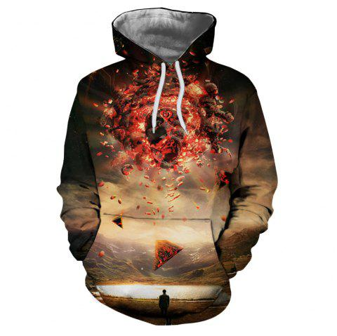 Men's New Sunset  3D Printing Hooded Sweater - multicolor L S