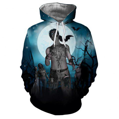 Men's New Sunset  3D Printing Hooded Sweater - multicolor O 3XL