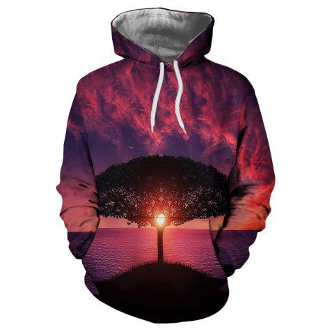 Men's New Sunset  3D Printing Hooded Sweater - multicolor D S