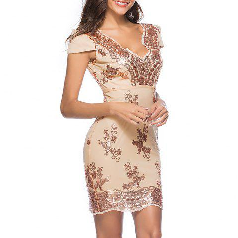 Deep V Sexy avec des paillettes Fashion Skinny Bodycon Club Sleeve Dress - Champagne Or S