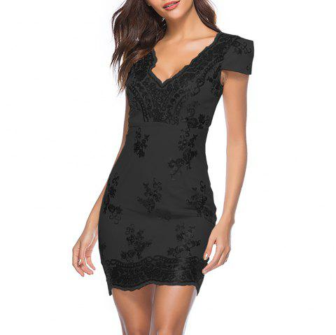 Deep V Sexy avec des paillettes Fashion Skinny Bodycon Club Sleeve Dress - Noir M