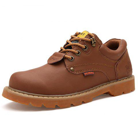 Men Low-Cut Outdoor Casual Tooling Shoes Wear-Resistant Non-Slip Boots - LIGHT BROWN EU 40