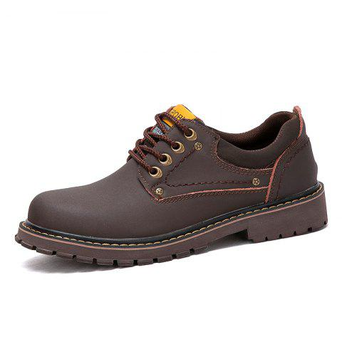 Men Low-Cut Outdoor Leather Tooling Shoes Wear-Resistant Non-Slip Boots - DEEP BROWN EU 43