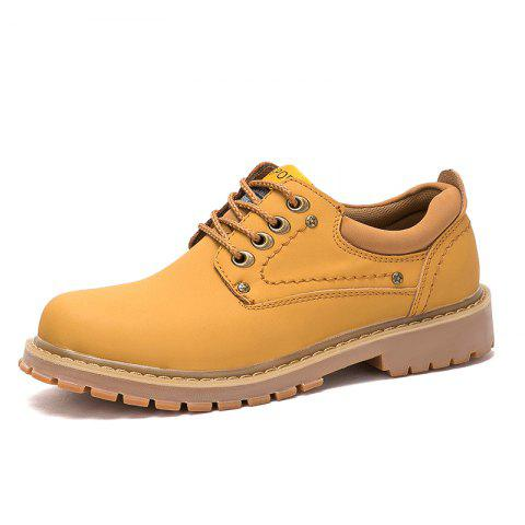 Men Low-Cut Outdoor Leather Tooling Shoes Wear-Resistant Non-Slip Boots - GOLDEN BROWN EU 42