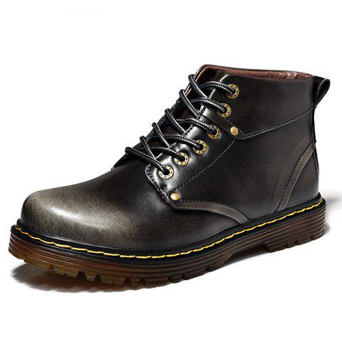 Men Leather Lace Casual Shoes Wear Non-Slip Outdoor Tooling Boots - BLACK EU 38