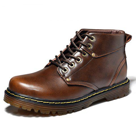 Men Leather Lace Casual Shoes Wear Non-Slip Outdoor Tooling Boots - BROWN EU 38