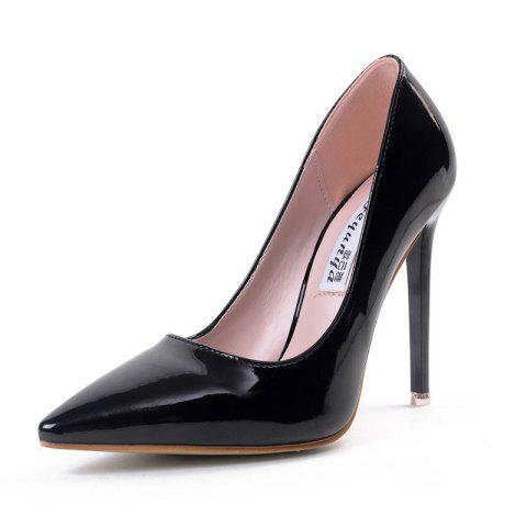 Women's Pointed Toe Stiletto Shoes Slim Party High Heels - BLACK EU 39