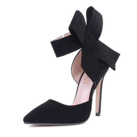 Women's Pointed Toe Stiletto High Heels Sweet Party Pumps with Bow - BLACK EU 39