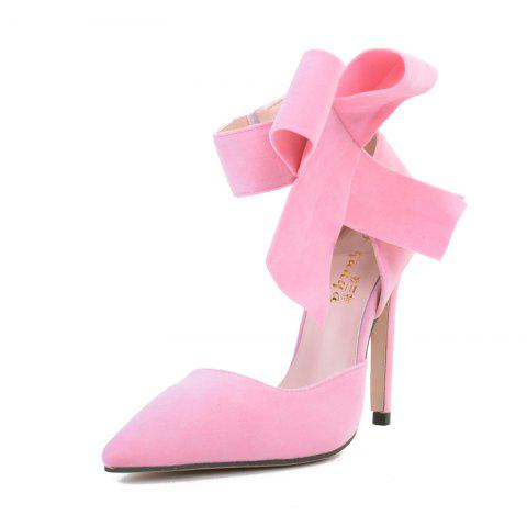 Women's Pointed Toe Stiletto High Heels Sweet Party Pumps with Bow - PINK EU 38
