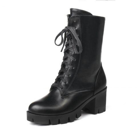 Autumn and Winter Thick with Ankle Boots Women'S Boots Front with  Boots A - BLACK EU 40
