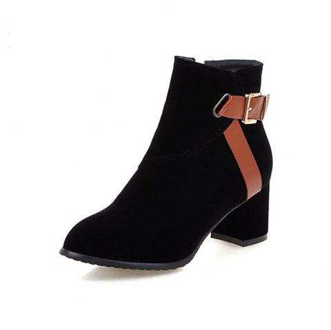 Autumn and Winter Simple Thick with College Wind Boots Fashion Pointed Women'S B - BLACK EU 35