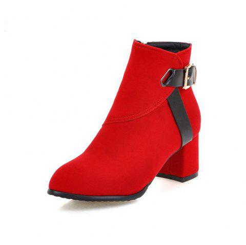 Autumn and Winter Simple Thick with College Wind Boots Fashion Pointed Women'S B - RED EU 36